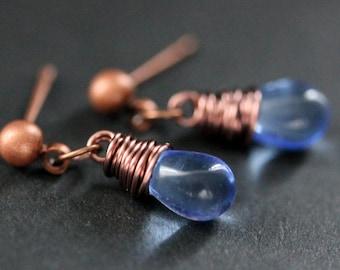 COPPER Earrings - Blue Teardrop Earrings. Stud Earrings. Dangle Earrings. Post Earrings. Handmade Jewelry.