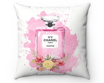 Chanel No 5 Perfume Bottle Pink Spun Polyester Square Pillow  Teen Room Decor  Fashionista Room Decor  Home Decor