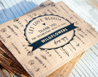 Wedding or Bridal Shower Seed Favor -  Let love bloom - wildflower patch design, seeds included - Budget Friendly Finished Packets