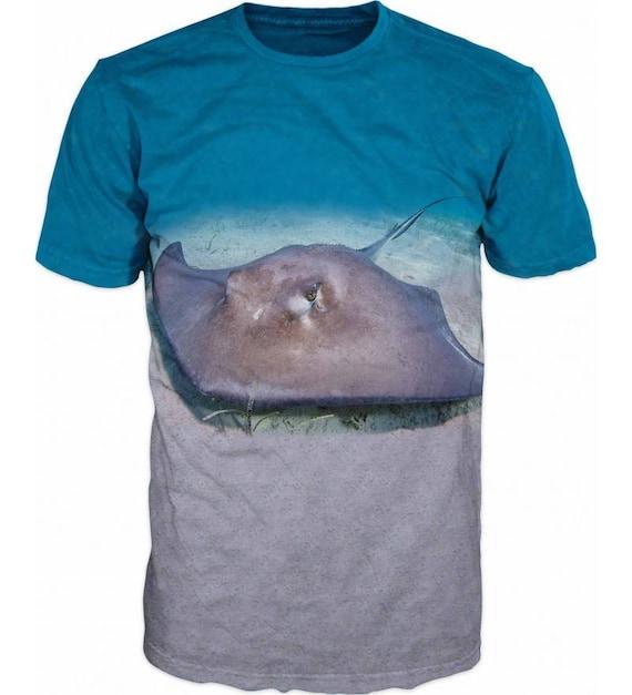 Cool Mens T-shirt 3D Skate Sea Ape Rays Sublimation Printed Sturgeon Fishing Hobby VEInbX