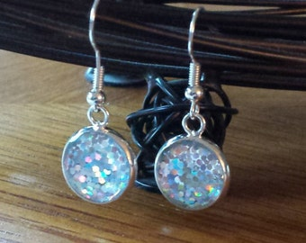 Silver Sparkles Dangle Earrings