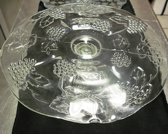 MOVING SALE, price reduced, Vintage grape patterned clear glass cake stand