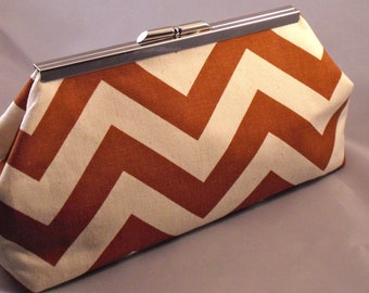 Rust Chevron Clutch Purse