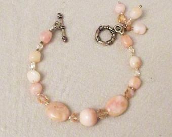 Pink Peruvian Opal Bracelet, Handmade Jewelry, Pink Peruvian Opal Nuggets, Rounds, Dangle Bracelet, Healing Gemstones, Spring Pink Pastels