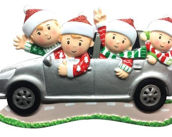 Suv (family of 4) Christmas Ornament -Road Trip Ornament -Family SUV- Personalized with Names and Message
