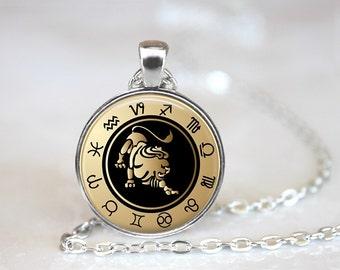Zodiac Sign Leo Black Glass Pendant, Photo Glass Necklace, Glass Keychain, Glass Jewelry