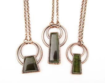 Faceted Moldavite Necklace | Reversible | Tektite Necklace | Moldavite Pendant | Electroformed | Green | Polished Crystal Necklace | Copper