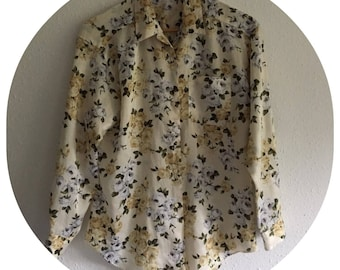 Vintage 90's Silk Cream and Floral Blouse Size 10