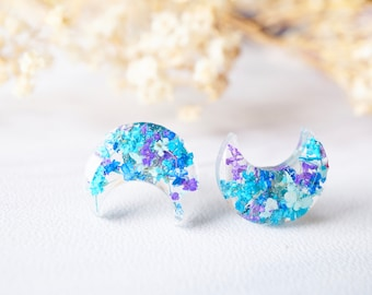 Real Dried Flowers and Resin Moon Stud Earrings in Purple Blue Teal Mint