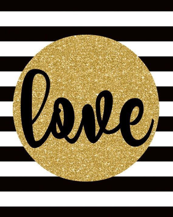 Black and Gold Decor Love Sign Love Decor Black White Gold
