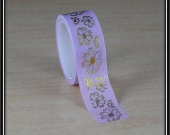 masking tape flowers with foil gold on pink 15mm x 3 m