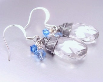 Clear Glass Briolette Earrings with Sapphire Blue Swarovski Crystals