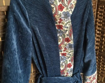 Blue Handmade vintage style dressing gown