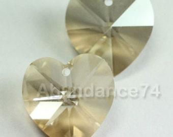 Swarovski Crystal 6228 6202 Faceted Xilion Heart Pendant GOLDEN SHADOW - Available in 10mm and 14mm