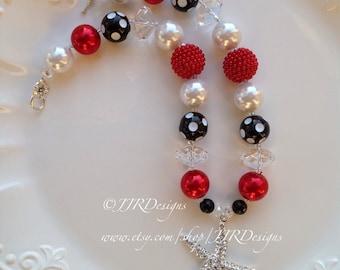 Ready to ship Elegant Starfish Necklace- Elegant Starfish Chunky Necklace- Starfish Red White and Black Necklace