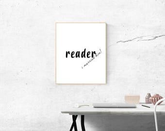 Jane Eyre Print, wedding decor, Female Bedroom Art, Charlotte Bronte, reader I married him, bedroom decor, romantic wall print, quote print