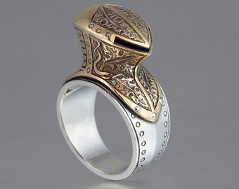 MAXIMILIAN Knight Helmet silver and bronze armor mens ring