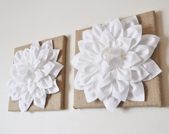 "Housewarming Gift Wall Art Rustic Home Decor TWO Wall Flowers -White Dahlias on Burlap 12 x12"" Canvas"