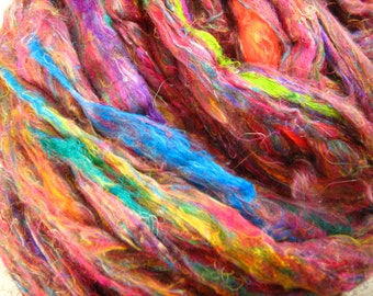 Silk Sliver 'Rainbow Gum' Soft, Luxurious, Pulled / Carded Multicolour Recycled Sari Silk Fibre for Spinning, Felting etc. 250gram Bulk Pack