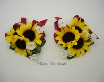 Sunflower Wrist or Pin Corsage w. Burgundy Ribbon, Wedding Decoration, Prom, 1 special occasion corsage