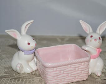 Bunny candy dish / two bunnies / pink candy dish / jelly beans / Takahashi / 1987 / Japan  / Easter candy dish / Easter decor / Easter bunny