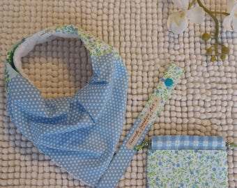 Set of baby blue pattern cotton patchwork and white Terry cloth.