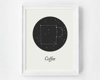 But First Coffee Kitchen Art Print, Constellation Art Print, Modern Print, Inspirational Wall Art, Art Prints, Black and White, Quote Prints