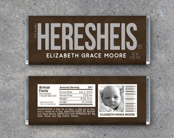 Personalized Birth Announcement Candy Bar Wrappers – Printable Download – HERESHEIS Hershey Bar Wrappers – It's a Girl! Photo Announcement