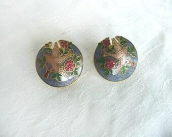 """Vintage cloisonne earrings - cloisonne bird earrings - cloisonne """"Fish"""" earrings - enamel stud earrings - blue cloisonne earrings"""
