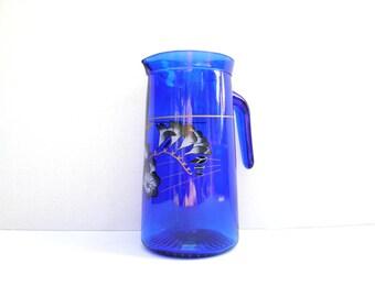 Vintage Dark Blue Glass Water Jug, Cobalt Blue Charming Glass JUG 1 L, Lemonade Pitcher, Water Jug with a Flowers Design, Flower Vase