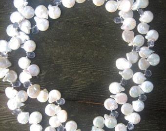 Pearl and Iolite Sea Goddess Multi-Strand Necklace