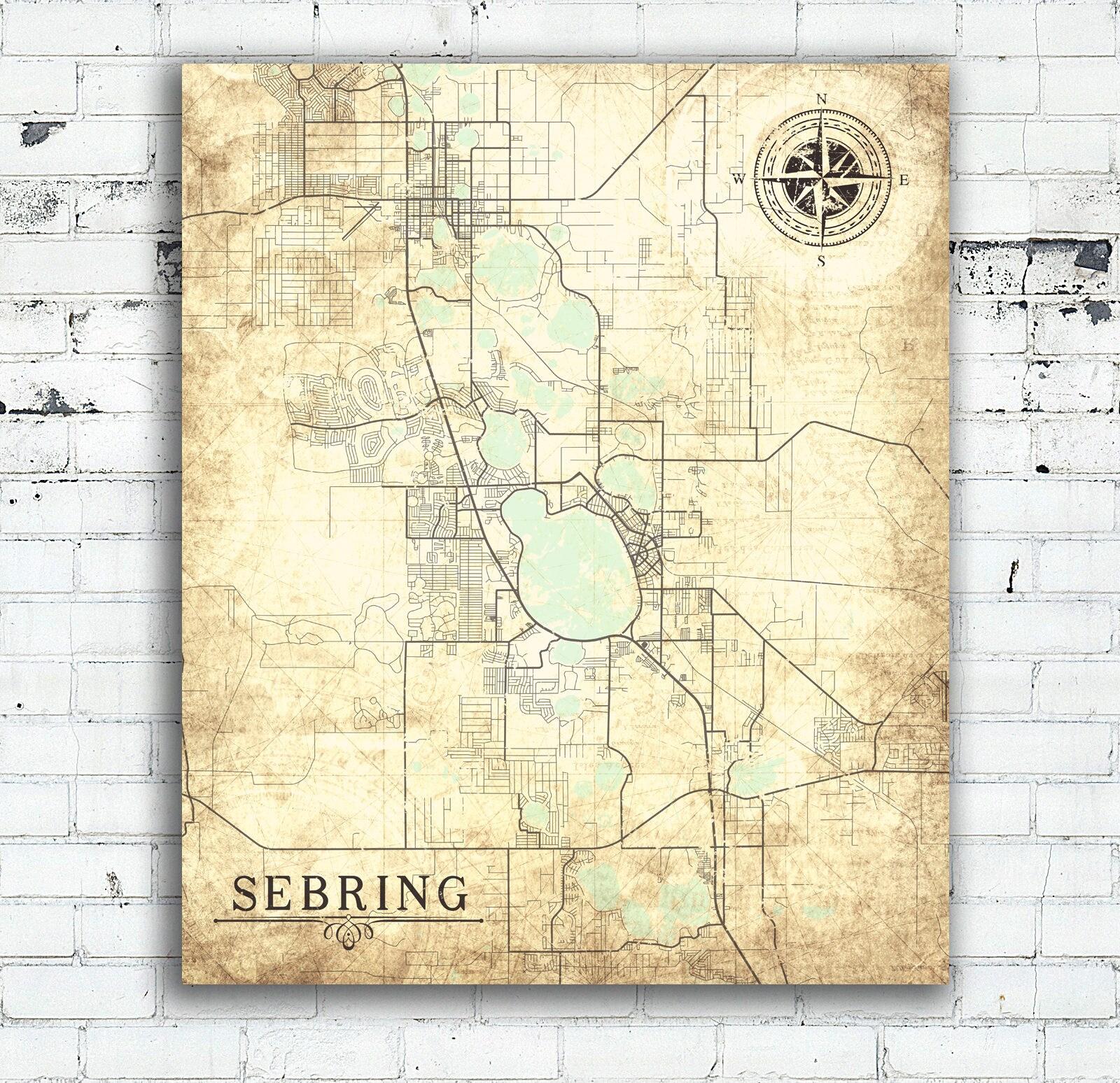 SEBRING FL Canvas Print Florida FL Vintage map City Map Florida ...