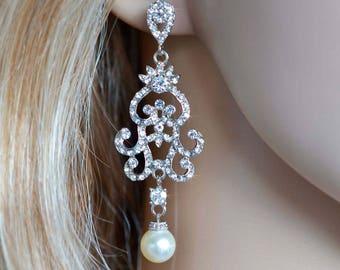 Handmade Vintage Inspired Crystal Rhinestone and Pearl Chandelier Earrings, Bridal, Wedding (Pearl-843)