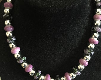 Silver and ceramic beaded necklace