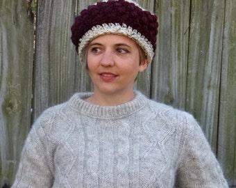 Cozy Cossack Hat in Oatmeal and Claret, Women's Winter Hat