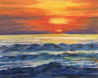 Large Pastel Painting Florida Art   Original Pastel Painting by JanLPastels Fine Art  Size 11 x 17 Inches Coastal Wall Home Decor