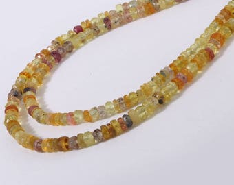 Natural Yellow Sapphire Faceted Rondelle Necklace 45 cm with hook  2X1 to 3x2 Approx