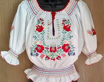 Traditional white Matyo Hungarian Hand Embroidered folk art blouse S, M, L size
