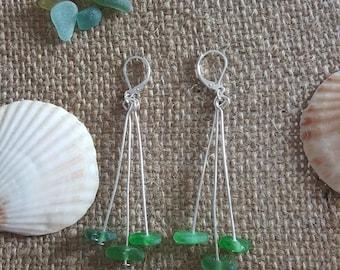 Sea glass earrings, green sea glass, beach jewelry, beach glass, sea glass, earrings, sea glass jewelry, dangly earrings