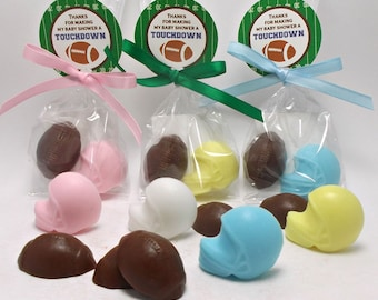 Football Baby Shower - 10 Football Party Favors - Football Birthday Party, Sports Party, Baby Shower, Team Gift, Coach Gift, Soap