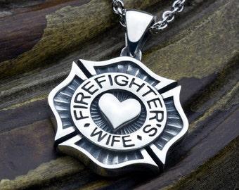 Large maltese cross firefighter saint florian sterling silver firefighters wife maltese cross with heart sterling silver necklace pendant aloadofball Choice Image