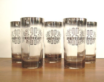 Silver Ombre Glasses, Barware, 25th Anniversary, Mad Men Style
