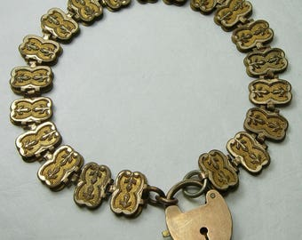Antique Victorian Book Chain Bracelet Heart Charm Clasp Gold Filled Bookchain