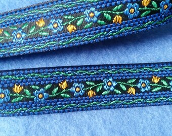 Vintage Blue and Yellow Floral Jacquard Ribbon, 5/8 inch ribbon by the yard