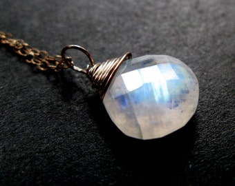 Moonstone Magic grade AAA microfaceted Rainbow blue white Moonstone and sterling silver  or Gold filled chain necklace