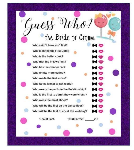 Guess Who Bride Or Groom Bridal Shower Game-Printable Bridal