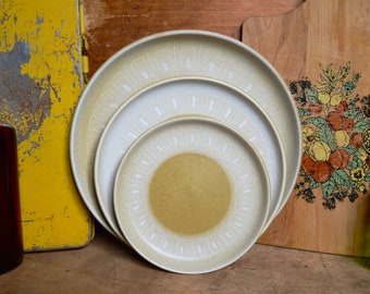 Vintage English Yellow Mustard Denby Ceramic Dining Set Plates Dinnerware Ode Collection by Denby- Langley Geometric Dinner Salad Dessert