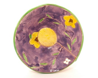 "Small Floral Earthenware slab built 6.5"" bowl. Hand built, food safe, made by Kaitlyn Brennan/ Brennan pottery. Perfect for desert."