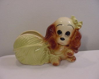 Vintage Sad Eyed Dog With Yarn Planter   17 - 1066