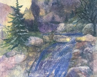 Fine Art Original Watercolor Large Painting With Sunlit Snowy Mtns.,Rocky Streams, Trees & Evergreens That is Peaceful by Janet Dosenberry